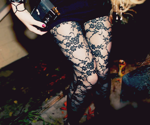 fashion, legs, and lace image
