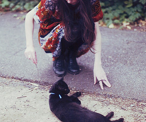 girl, cat, and photography image