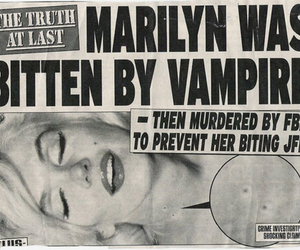 Marilyn Monroe, vampire, and black and white image