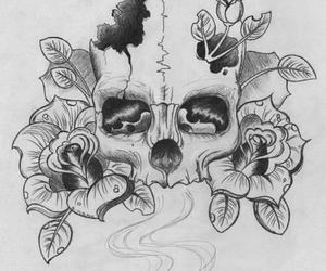 skull, rose, and drawing image