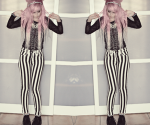 pastel goth, pink hair, and pastel image