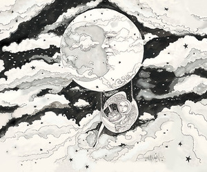 black and white, draw, and moon image