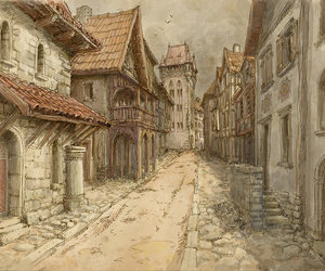 medieval, art, and town image
