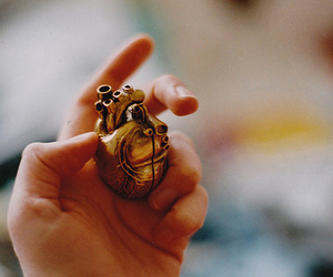 heart, gold, and hand image