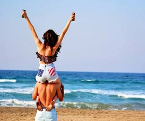 american flag, girl, and high waisted shorts image
