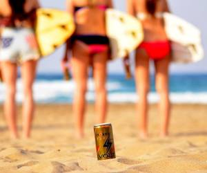 beach, girls, and surfboards image