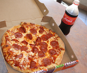 coca cola, pizza, and food image