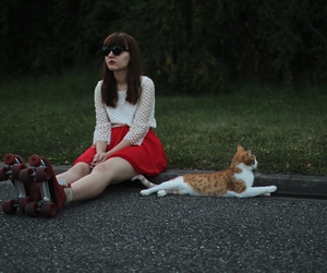 beautiful, girl, and cat image