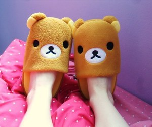 cute, slippers, and rilakkuma image