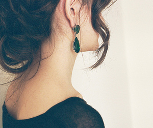 hair, earrings, and brunette image