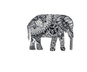 elephant, b&w, and drawing image