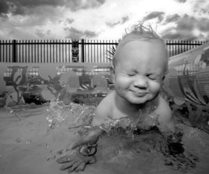 baby, water, and black and white image