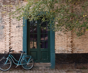 bike, street, and bricks image