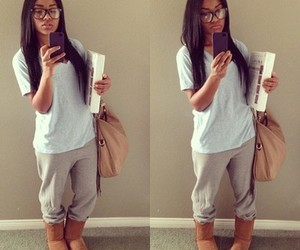 glasses, pretty, and uggs image