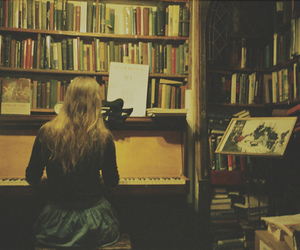 book, girl, and piano image
