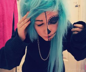 blue hair, pretty, and colorful hair image