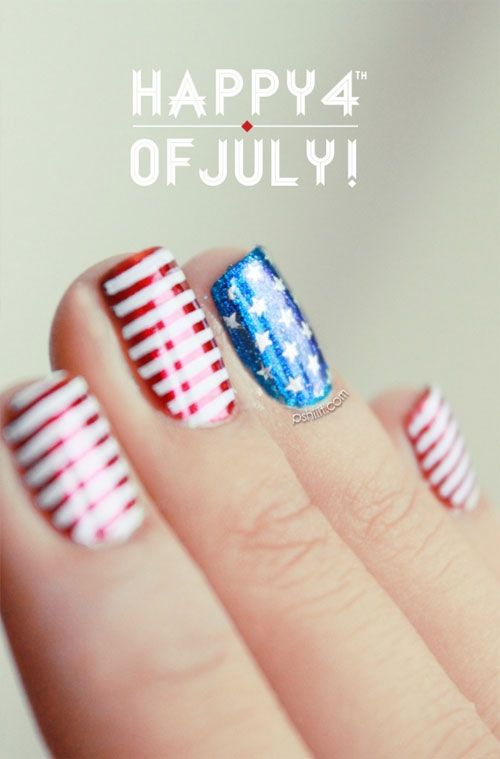 4th of July Nail Art - Happy 4th on We Heart It