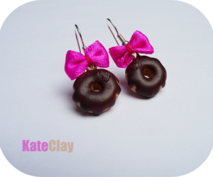 donut, earrings, and fimo image