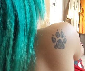 tatto, blue hair, and beauty¨ image