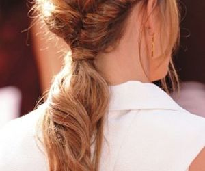 hair style and twisted low ponytail image