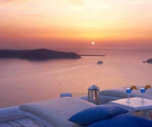 summer, Greece, and sunset image