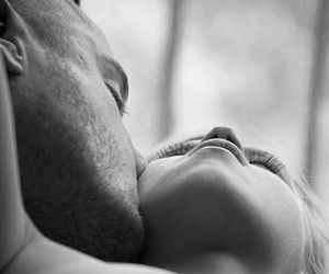 black and white, kisses, and love image