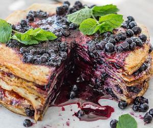 cake, blueberry, and pancake image