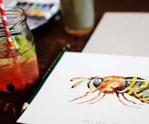 bee, fruit, and draw image