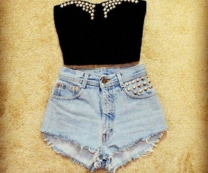 booty shorts, rhinestones, and clothes image