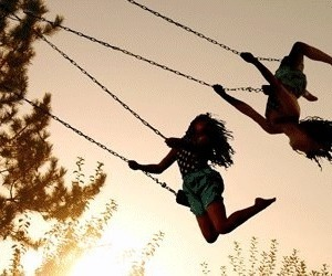 girl, friends, and swing image