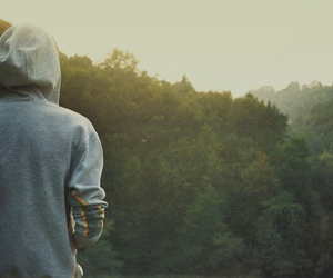 boy, nature, and hoodie image