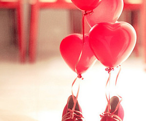 red, shoes, and balloons image