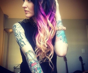 hair, tattoo, and blonde image