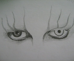 black and white, draw, and eyes image
