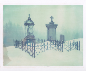 graveyard, snow, and tombs image