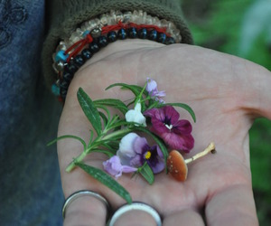 flowers, hand, and rings image