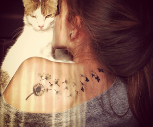 girl, tattoo, and cat image