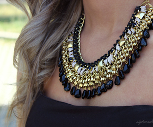 necklace, gold, and black image