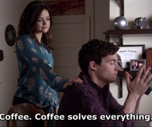 pretty little liars, coffee, and lucy hale image