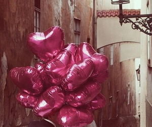 ballons, bride, and couple image