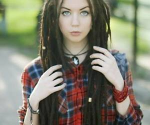 dreads, girl, and blue eyes image