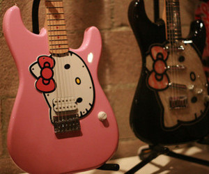 hello kitty, guitar, and pink image