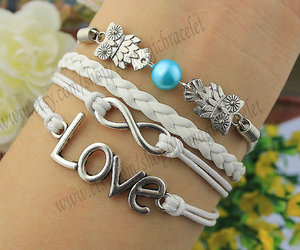cute owls, infinity love, and antique silver image