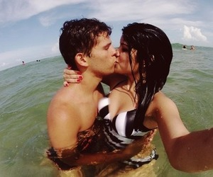 beach, cool, and kiss image