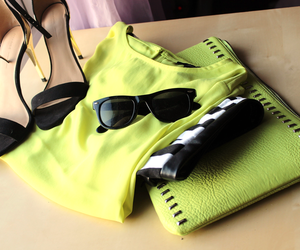 bag, sunglasses, and black and white image