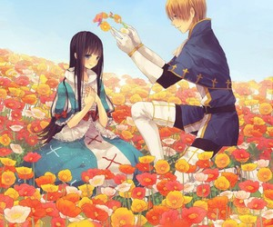 anime, couple, and flower image