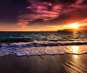 beach, sunset, and sun image