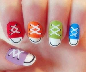 nails, colorful, and shoes image