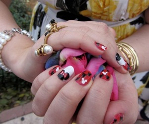 mickey mouse, minnie mouse, and nail art image