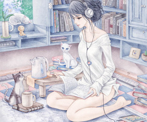 cat, book, and anime image